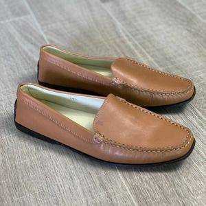 Tod's Caramel Leather Loafer Driving Shoe Size 8.5
